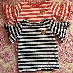 Carter's striped ruffles sleeve tops